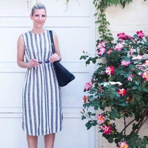 Loft Striped Linen Midi Dress - Size 4